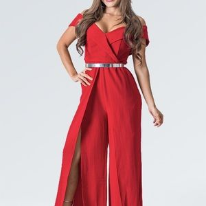Fit Miami Style Pants - Off shoulder Red Jumpsuit
